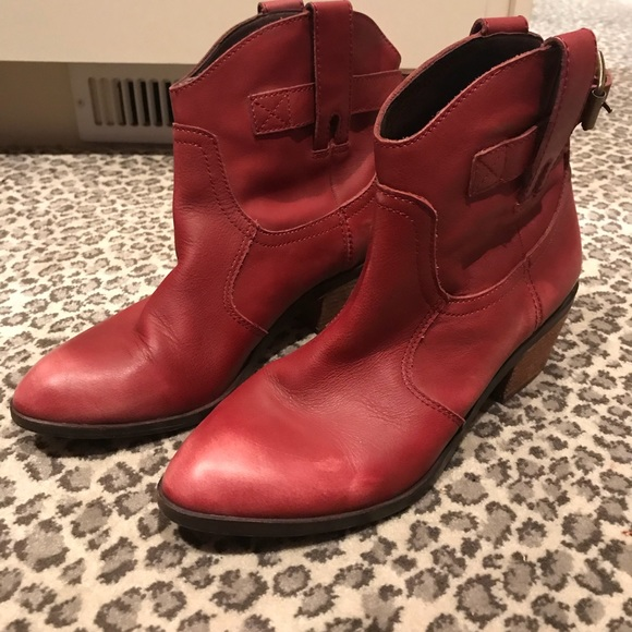 Lucky Brand Red Leather Ankle Boots